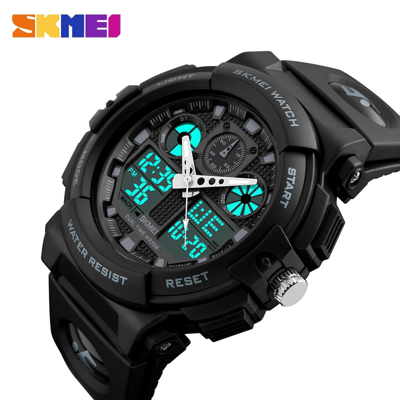 SKMEI Sports Watch Men Digital Double Time Chronograph Watches 50M Waterproof Week Display Wristwatches 1270