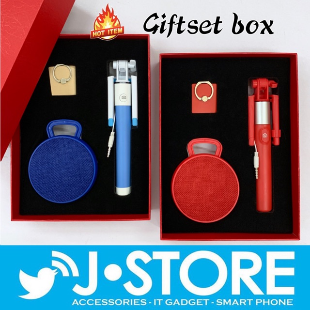 GIFT SET BOX RED BLUE SPEAKER MONOPOD IRING STAND HUAWEI IPHONE ANDROID  FREEGIFT