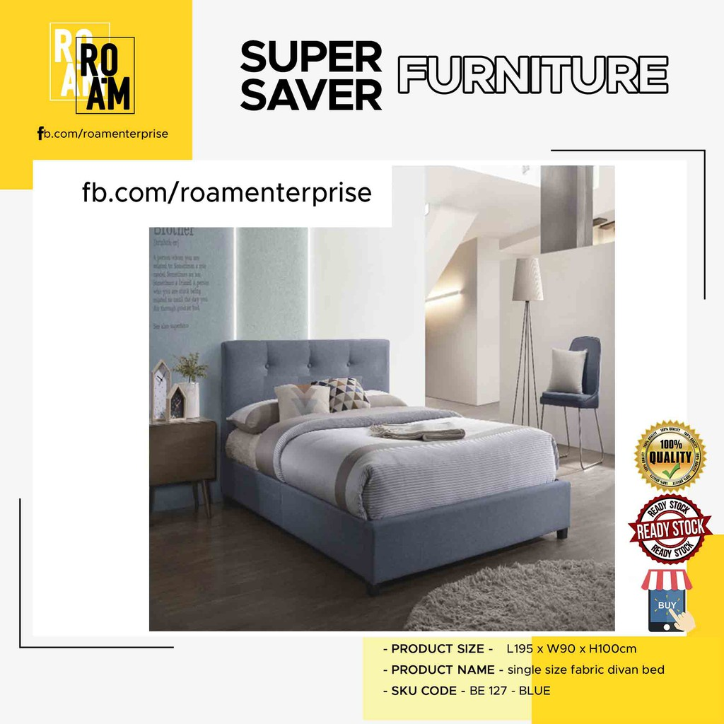 LENCIA SINGLE SIZE FABRIC DIVAN BED-BLUE/GREY 2 color