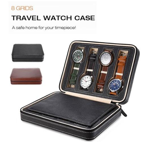 Portable 2 4 8 Grids Travel Watch Box Superior Pu Leather Storage Case Organizer