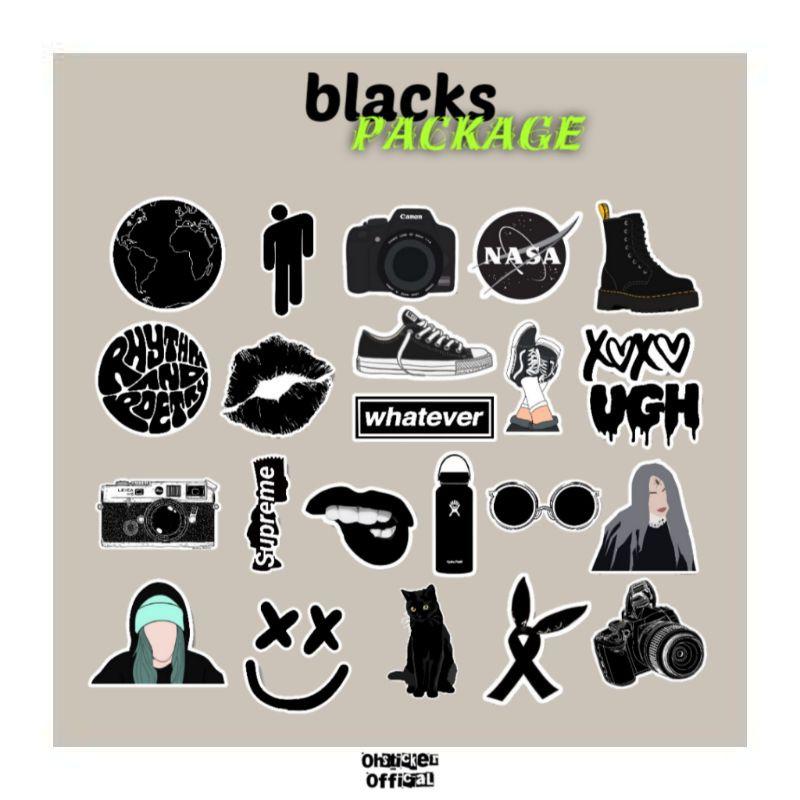 Black Aesthetic Stickers Case Handphone Laptop Tumblr Deco Bujo Stickers Diy Shopee Malaysia