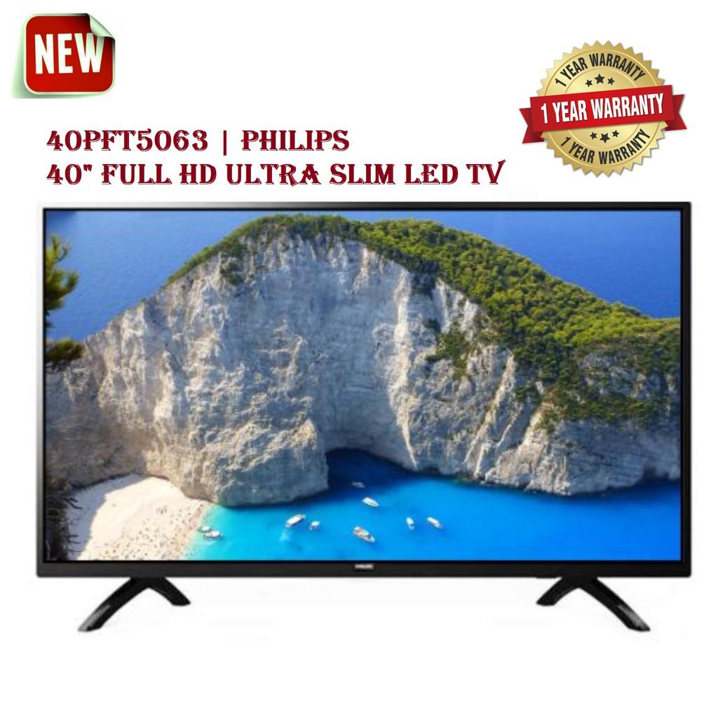 "PHILIPS 40"" FULL HD ULTRA SLIM LED TV 40PFT5063 LED FULL HIGH DEFINITION 1920x1080P 60HZ USB RECORDING 2 HDMI COAXIAL"