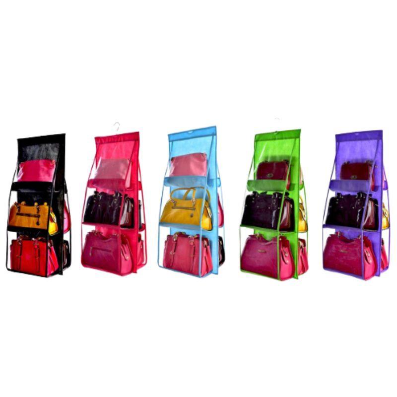 handbag bagtangan 6 Pockets Handbag Storage Dust Proof Organizer Bag Hanger