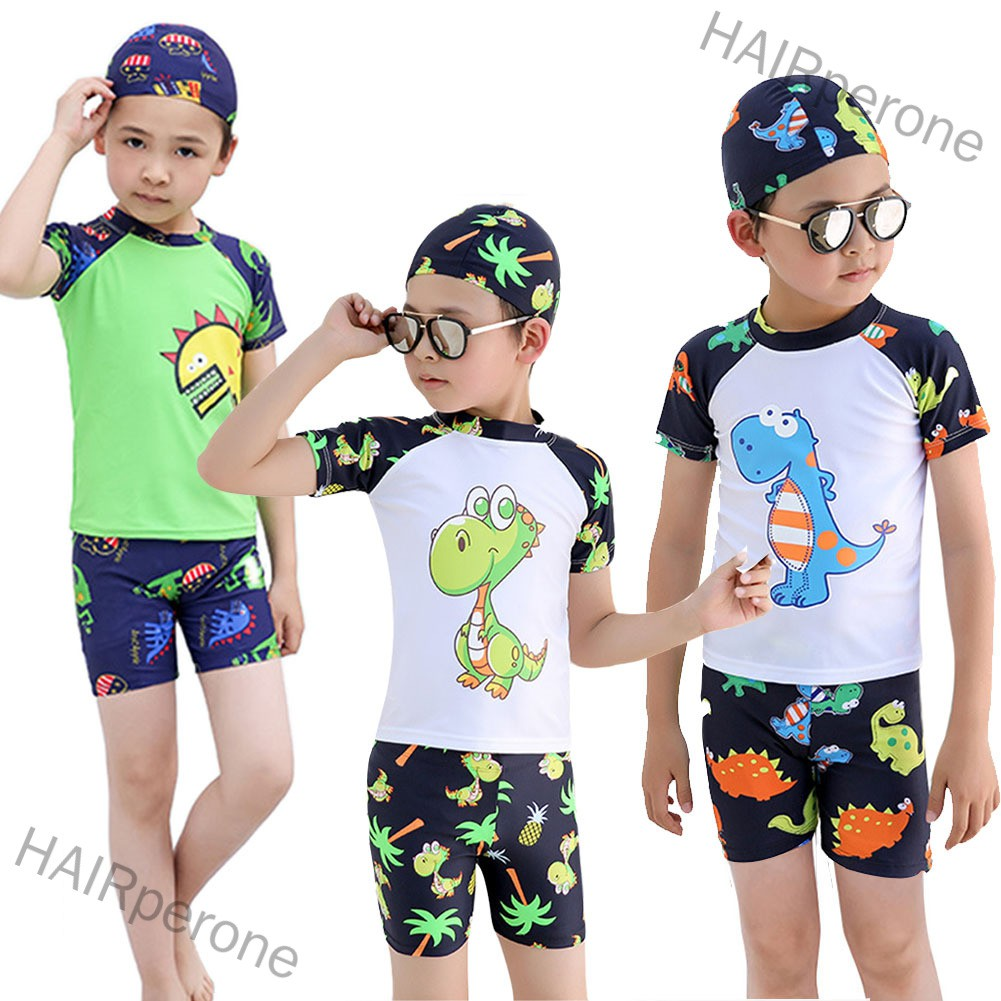 HAIRperone Kids Boys Cartoon Dinosaur Printing Top Shorts Hat for Swimming