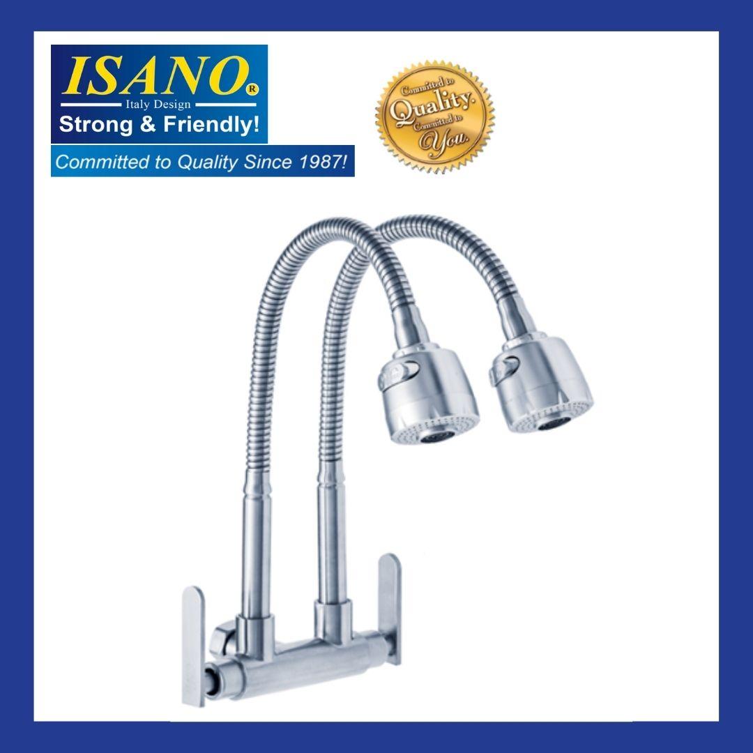 ISANO Kitchen Faucet Flexible Twin Neck Wall Sink Tap - 1000TFS
