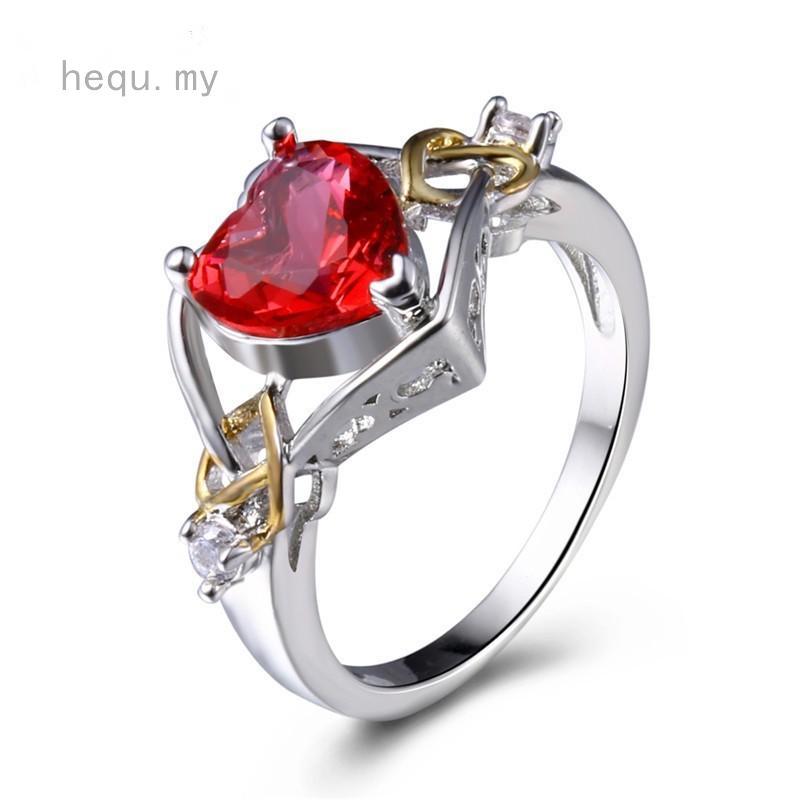 0e425f9c74 Silver Plated Love Rhinestone Heart-shaped Ruby Ring Fashion Crystal ...