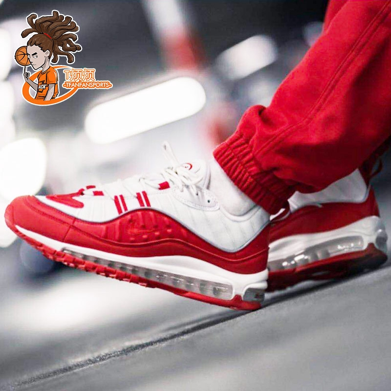 T annoying NIKE AIR MAX 98 men and women white and red SUPREME retro gasket running shoes 640744 602