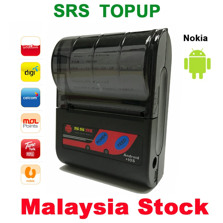 Free POS 58mm Bluetooth Thermal Receipt Printer SRS Topup Pay Bill For  Android
