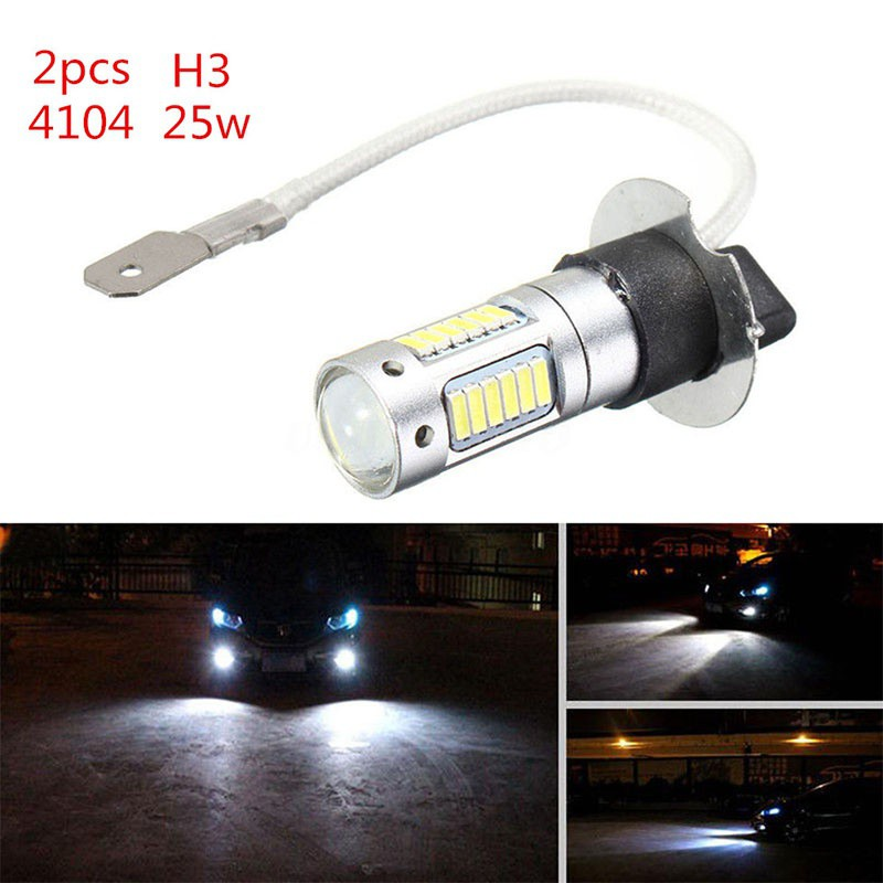 2 x H3 4014 30SMD 1200LM LED DRL Fog Light Car Bulb DC 12V 6500K