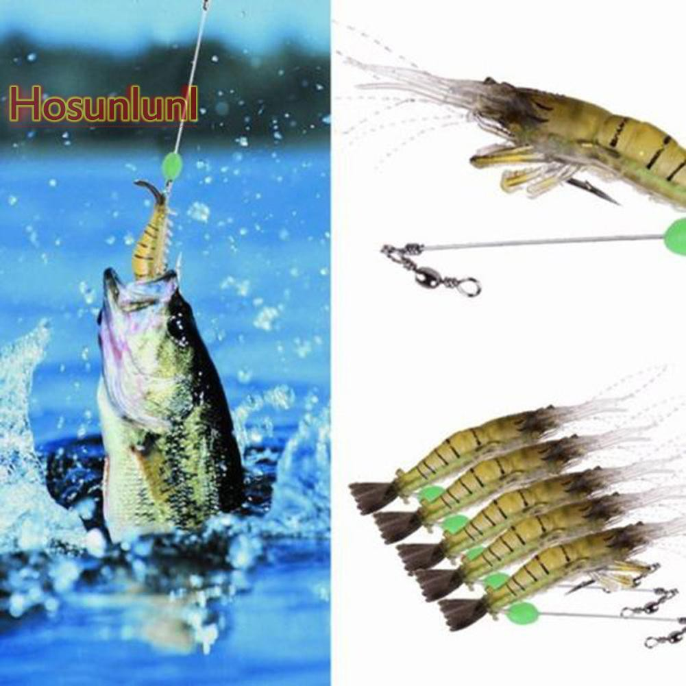 10Pcs Shrimp Simulation Soft Prawn Lure Bait Hook Tackle Bass Fishing Lures  Fq