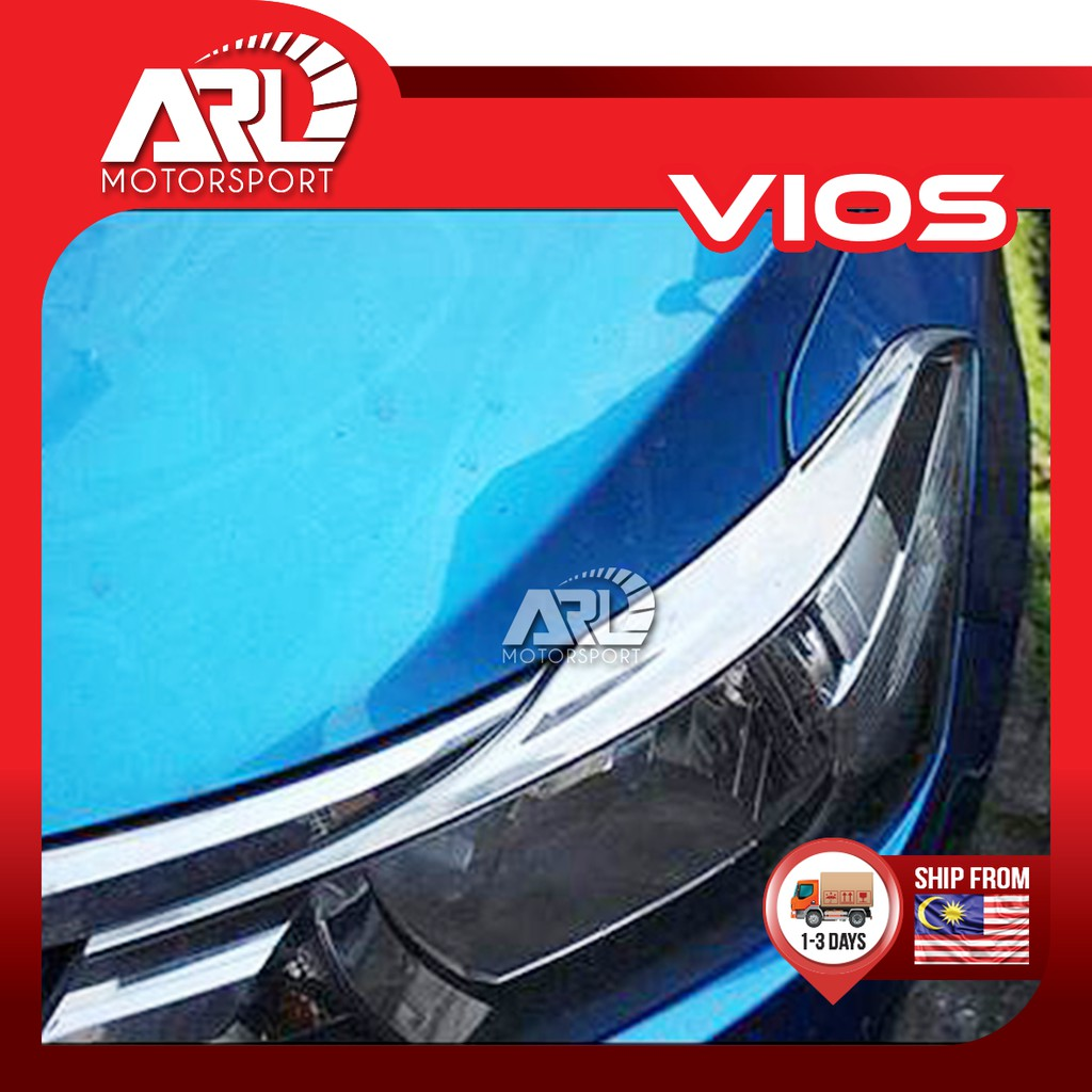 Toyota Vios (2013-2018) NCP150 Front Head Lamp Eyelid Chrome Lining Car Auto Acccessories ARL Motorsport