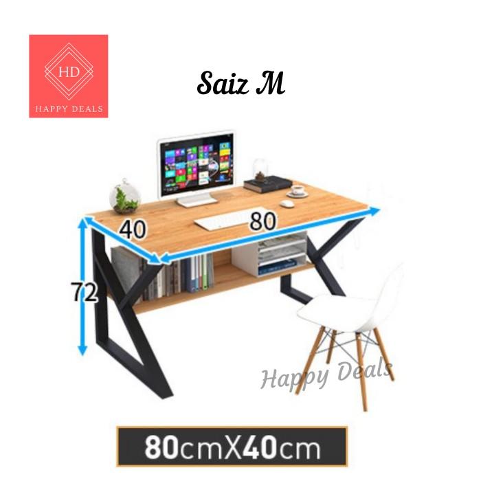 Happy Deals Multi-Sizes Home Office Table Steel And Wood Computer Desk With Storage 读书桌子 办公桌 木桌 Meja Kayu Meja Kerja
