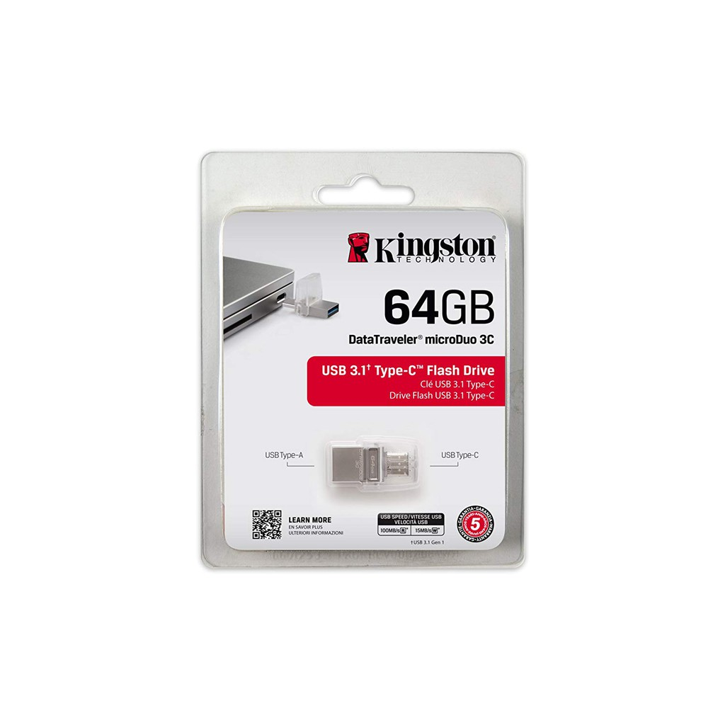 Kingston 64GB MicroDuo 3C USB 3.1 Pen Drive USB Type C 100MB/s DTDUO3C 64GB