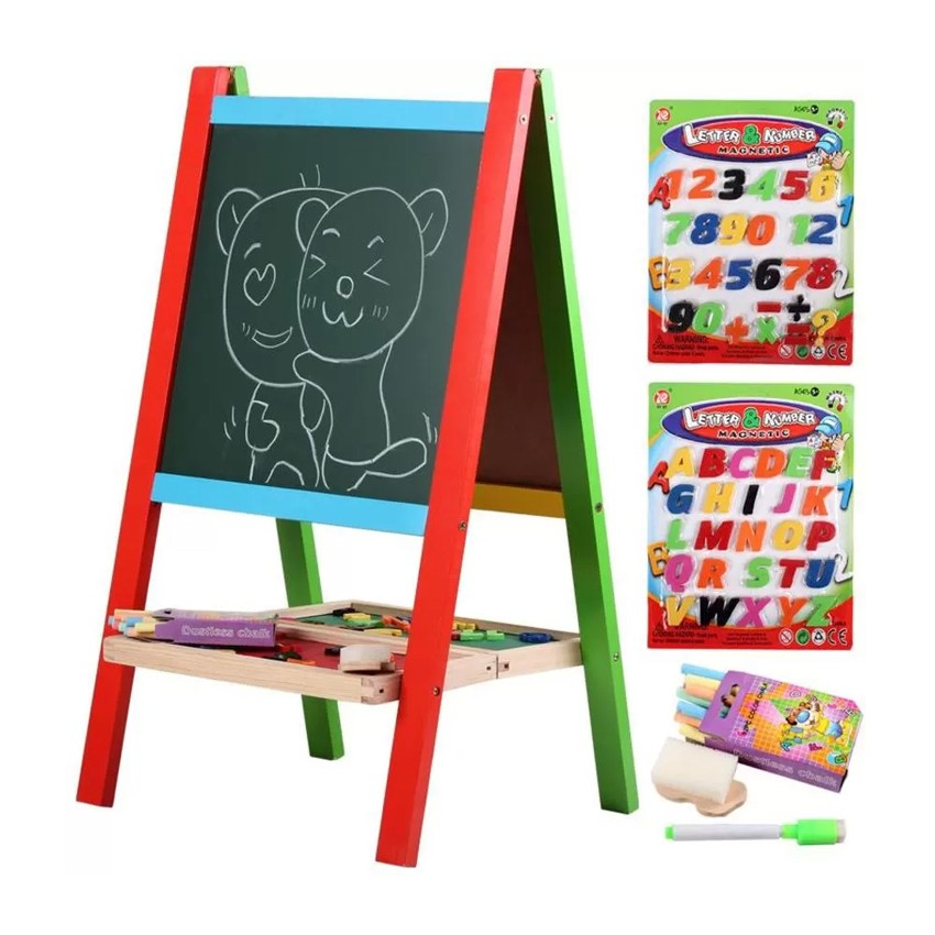 Wooden 2 in 1 double sided magnetic Writing Board