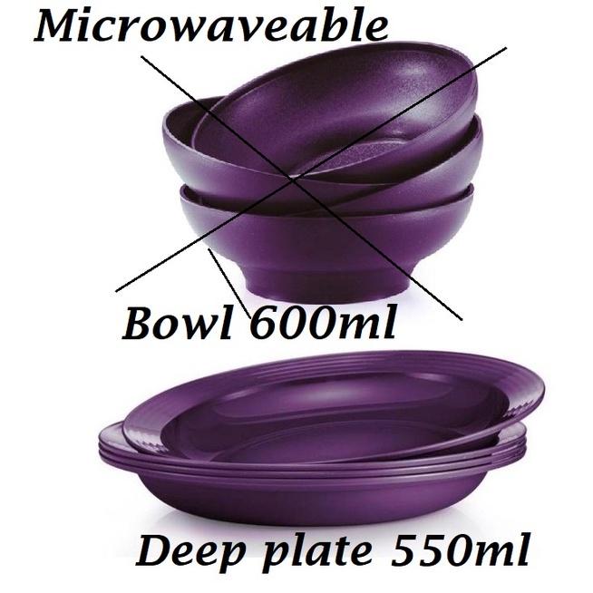 **Microwaveable **Tupperware Purple Royale Deep Plate 550ml / Bowl 600ml Raya Ramadan