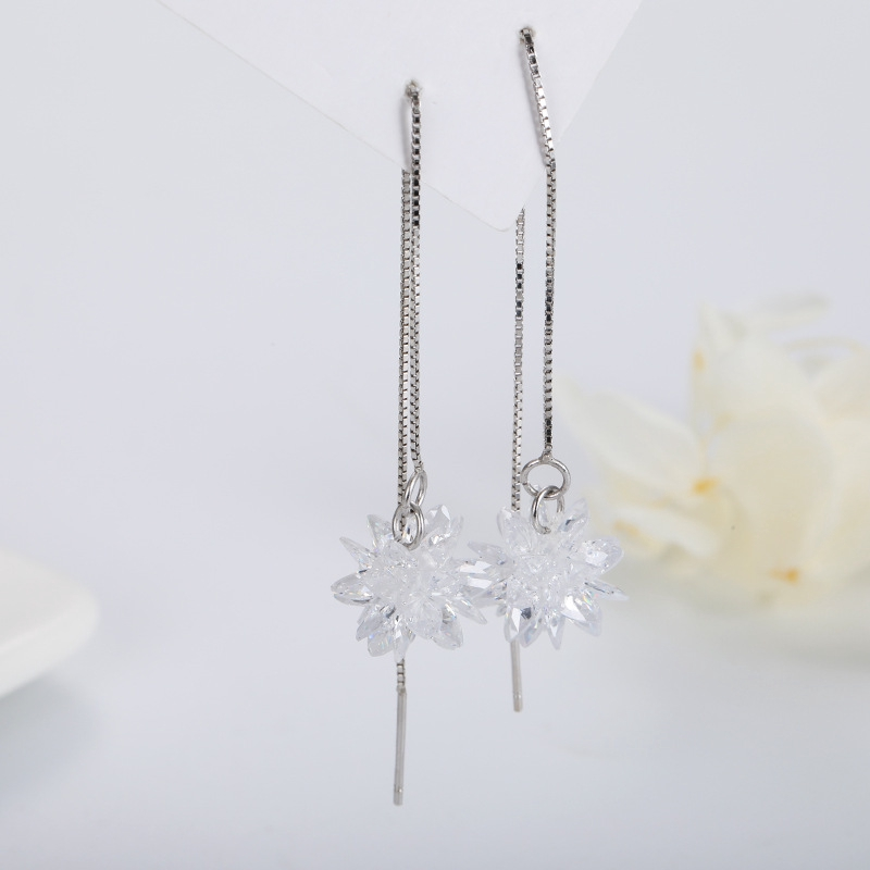 Snowflake Drop Hoop Dangle Hook Earrings 925 Sterling Silver Womens Jewellery LW