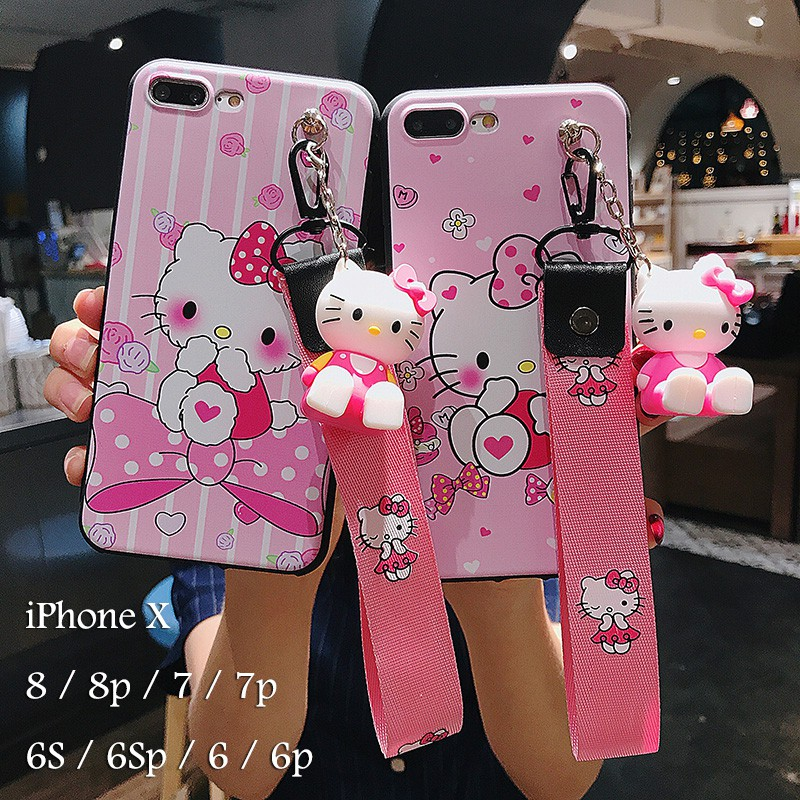new concept 2f03d 8ac57 Casing iPhone 6 6s 7 8 Plus/X/Xr/Xs/Xs Max Case Soft Hello Kitty Phone Case