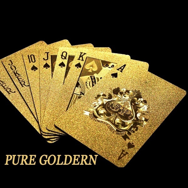 Waterproof 24K Gold Poker Cards Marvellous Luxury Foil Plated Plaid Playing