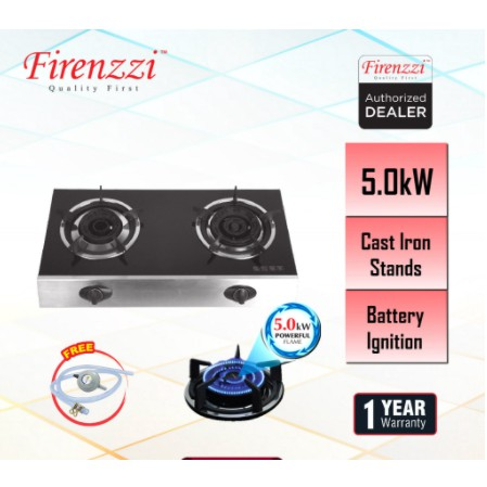 Firenzzi FS-126 / FS-148 Glass Stove Powerful Gas Cooker (Battery Ignition)