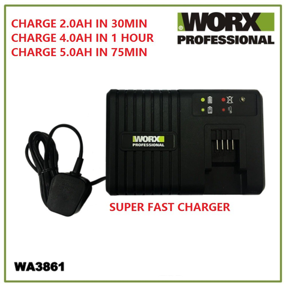 WORX WA3861 20V 6A Battery Rapid Fast Charger WU310 WU175 WU677 WG169E WG163E WG322E WG329E.5 WG549E WA3551 WA3561 WG894
