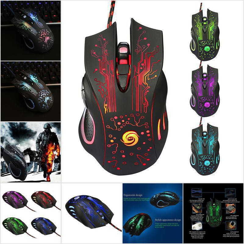 5500DPI 6 Buttons 7 Color Breathing LED USB Wired Optical Pro Gaming Mouse Mice