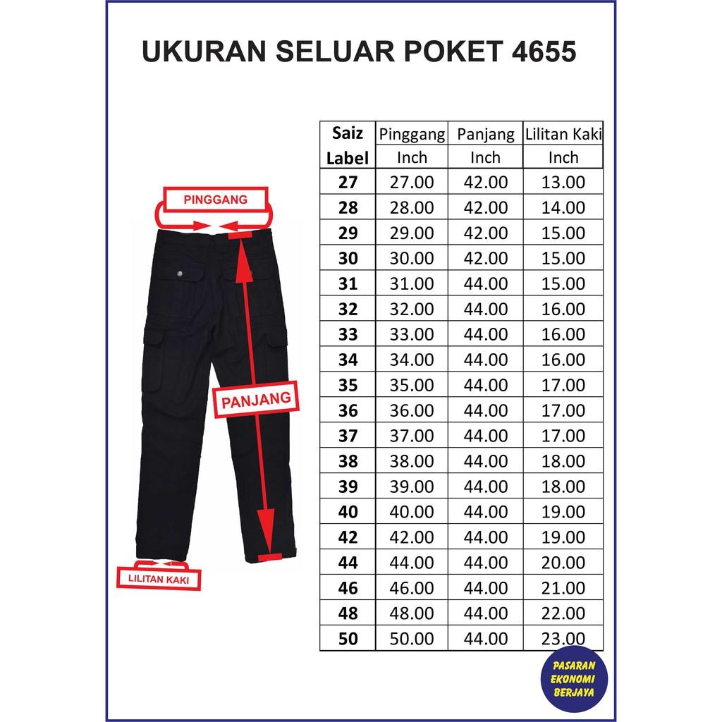 SELUAR POCKET HITAM 4655/ CARGO PANTS/ SELUAR KERJA/ SELUAR 6 POCKETS/ SELUAR PANJANG LELAKI/ SELUAR POKET