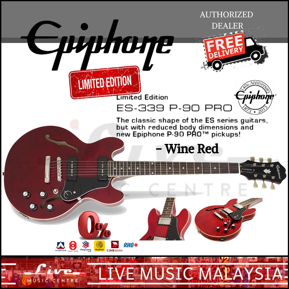Epiphone Limited Edition Es 339 P 90 Pro Electric Guitar Wine Red Es339 P90 Shopee Malaysia