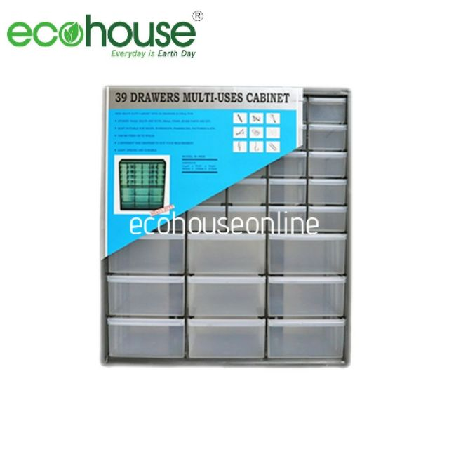 Ecohouse 39 Compartment Stackable Heavy Duty Drawers/Plastic Storage Multi Uses Organizing Cabinet [ READY STOCK ]