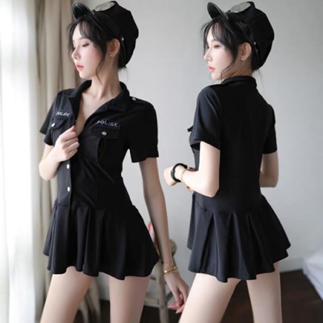 [Free Size]Sexy Pajamas Cosplay Policewoman Uniform Set 性感情趣内衣服骚空姐小胸制服诱惑挑逗角色扮演床上激情套装超骚