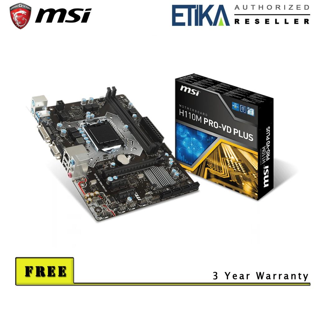 MSI H110M Pro-VD Plus LGA1151 Motherboard (Support Intel 6th & 7th Gen CPU)