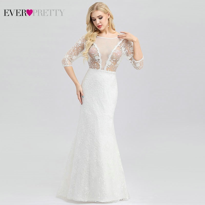 Ever Pretty New Sexy Illusion Back Wedding Dresses Mermaid O Neck