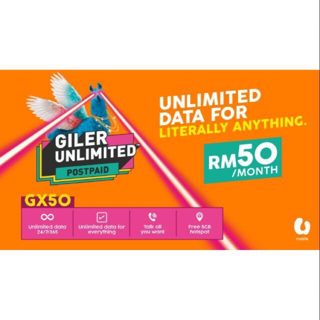POSTPAID UMOBILE GX50 (UNLIMITED DATA+UNLIMITED CALL )