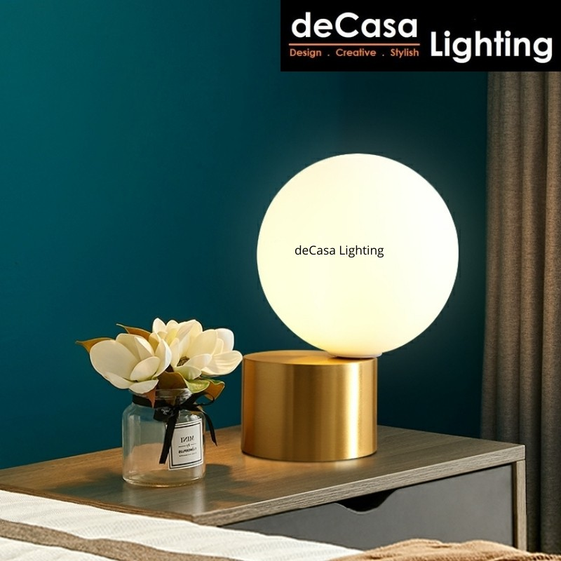 DECASA LIGHTING Modern Glass Ball table lamps C/W 5w Led Bulb Warm White Gold Simple Desk Lamp Home Decor T1114
