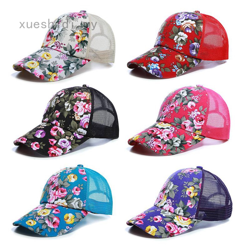 Hawaiian Trucker Hat Mesh Back Baseball Cap Tropical Floral Snapback Adjustable