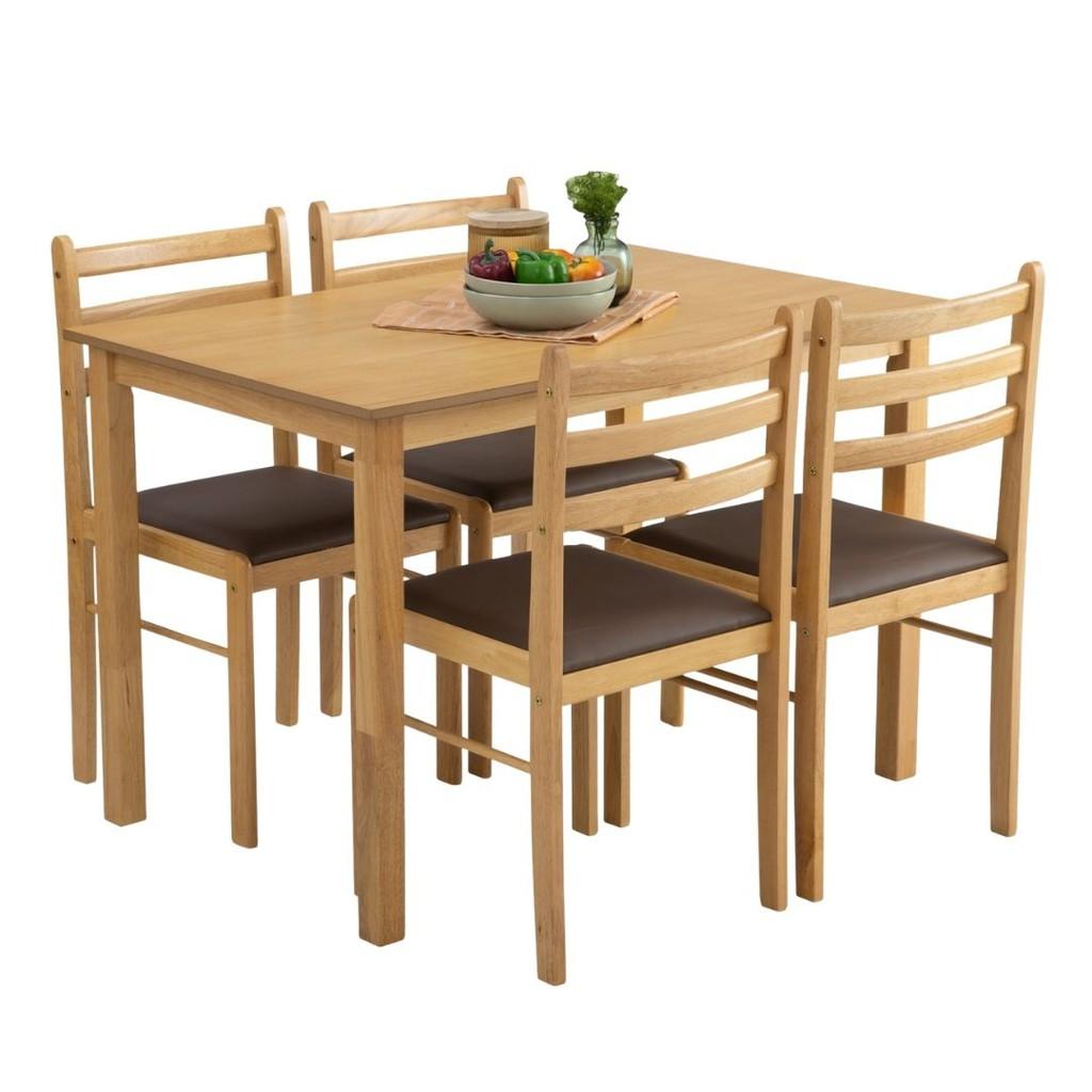 Furniture Direct WALD 4 seater solid wood dining set starter set/ set meja makan