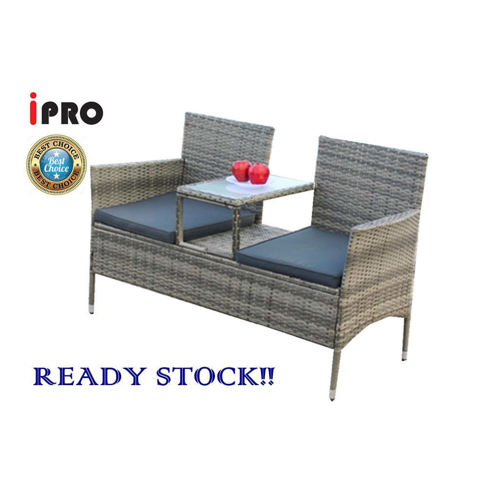 Picture of: Ipro Rattan Chair Set For Outdoor Indoor Garden Furniture Chair Kerusi Sembang Love Seat Conversation Set Grey Shopee Malaysia