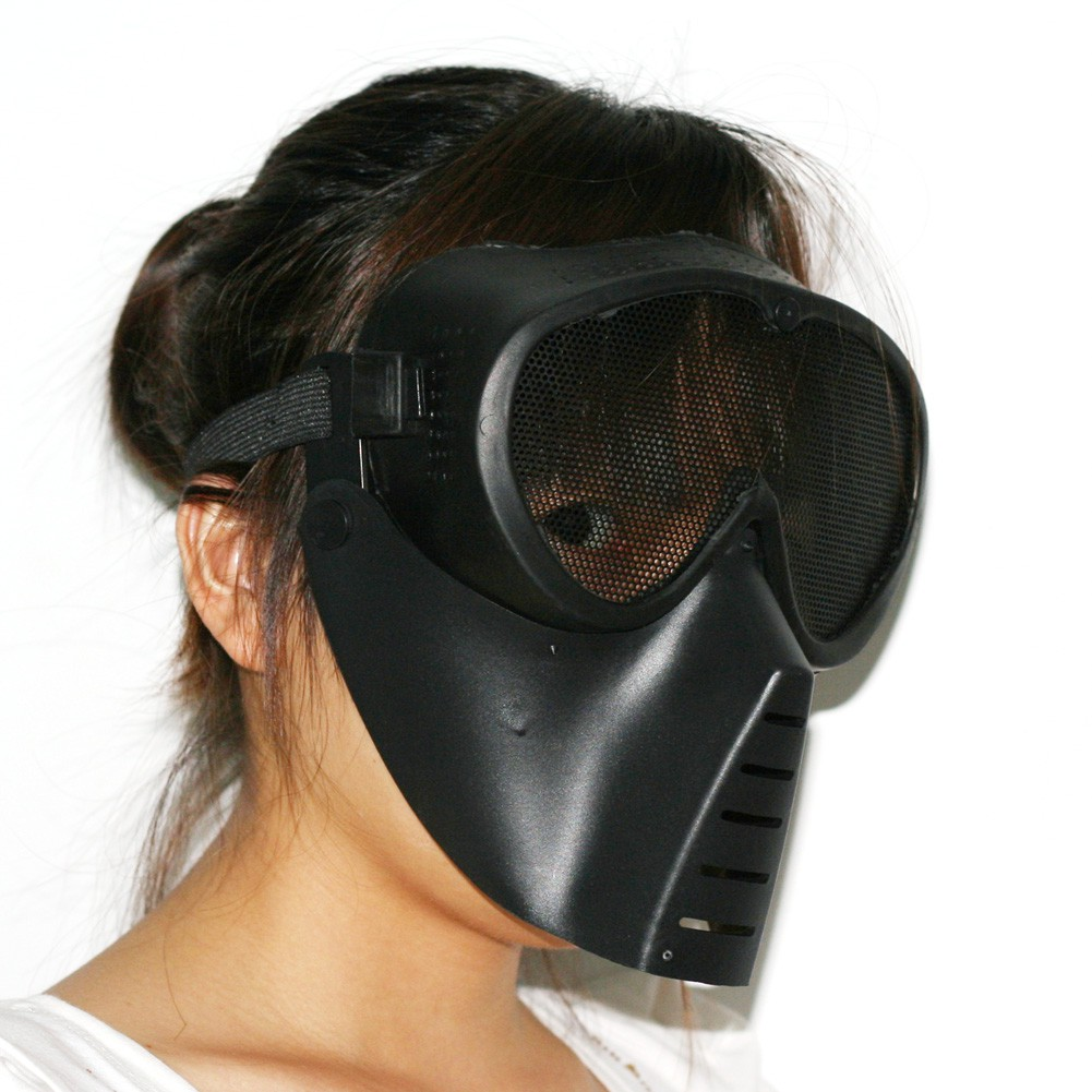 New Airsoft BB Gun Paintball Mesh Face Goggle Full Face Protect Black Mask Skull