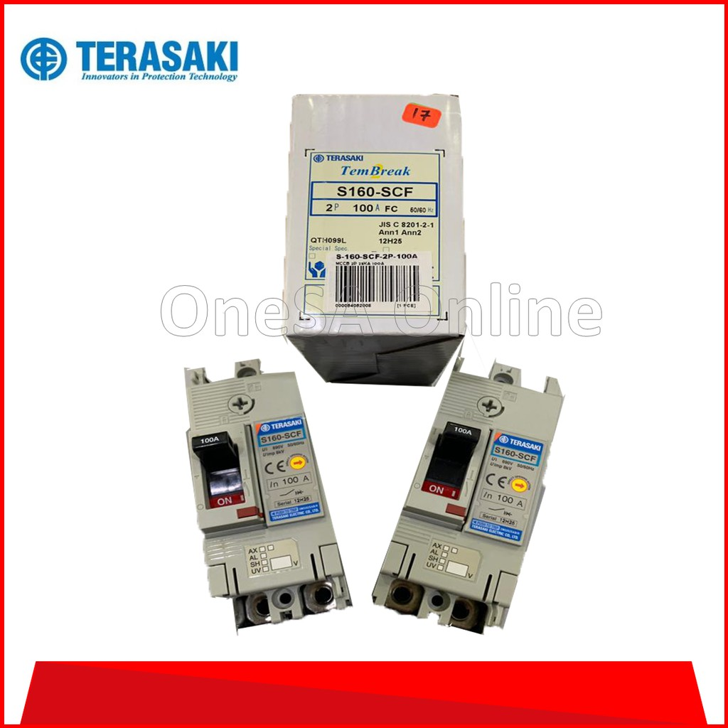 Electrical Equipment ~ TERASAKI MOULDED CASE CIRCUIT BREAKER (MCCB) ~ (S-160-SCF-2P-100A) 2POLE ~ 25KA ~ 100A ~ Industrial Equipment