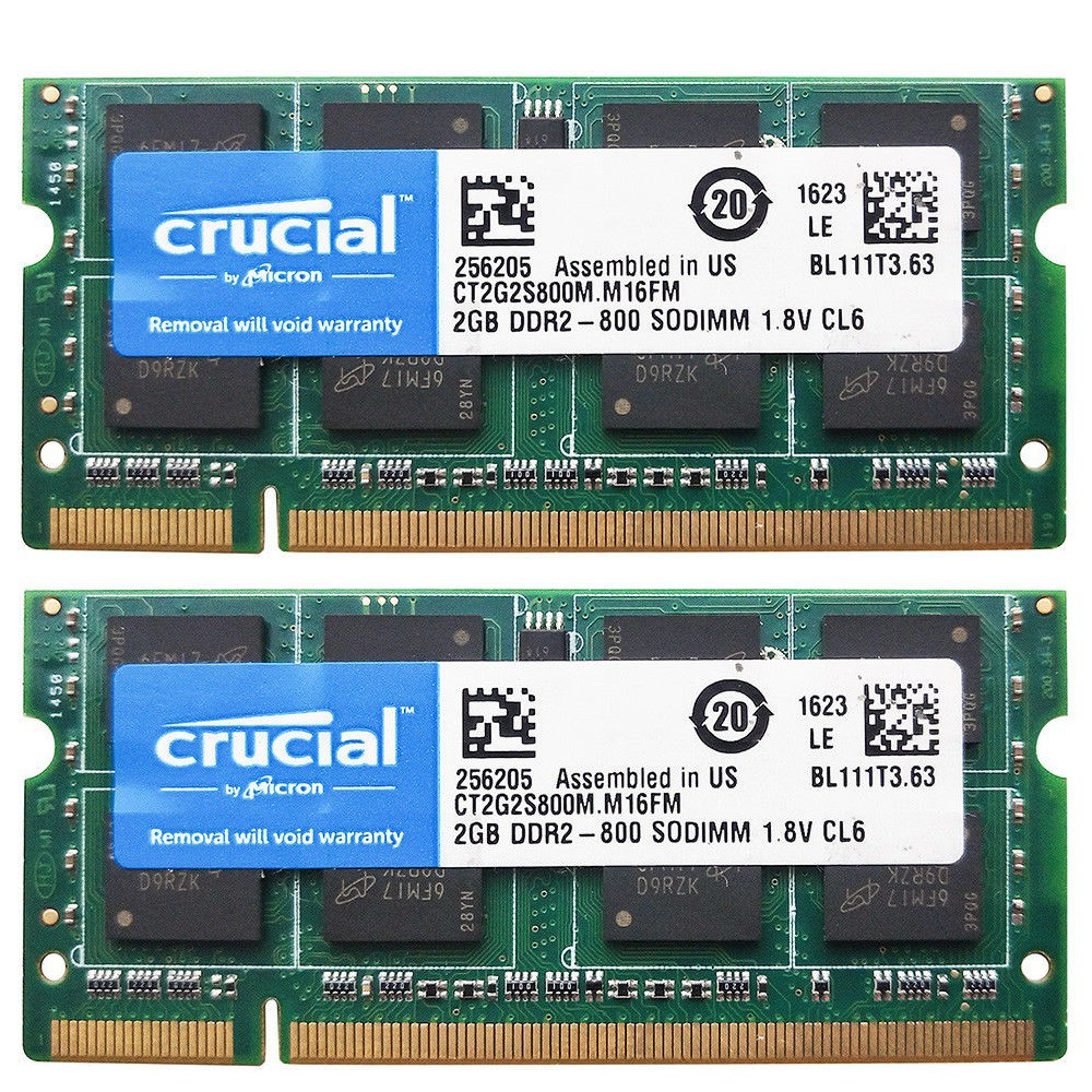 Crucial 4gb 2x 2gb Ddr2 Ram 800mhz Sodimm Laptop Notebook Memory Pc2 So Dimm 6400 Shopee Malaysia
