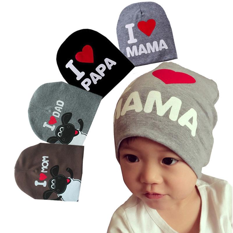 9fb0d9c6d 1Pcs Quality Soft Newborn Baby Hats Cotton Kid I LOVE MOM/DAD Children Caps