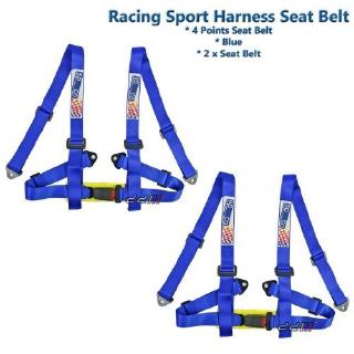 SPORTS RACING HARNESS SEAT BELT 3 POINT FIXING MOUNTING BLUE PAIR NEW