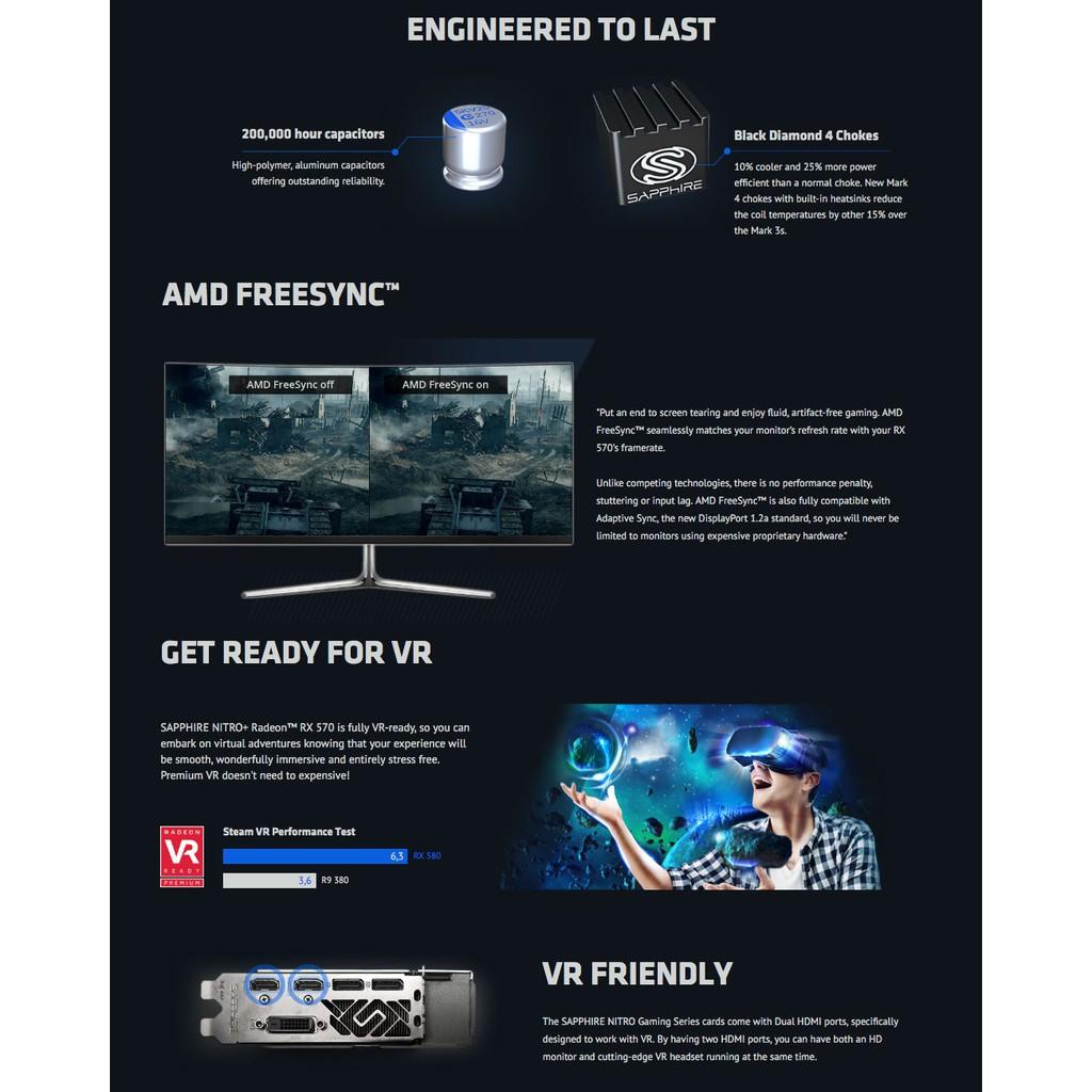 Sapphire NiTRO+ Radeon RX 570 4GB DDR5 Graphic Card | Shopee Malaysia