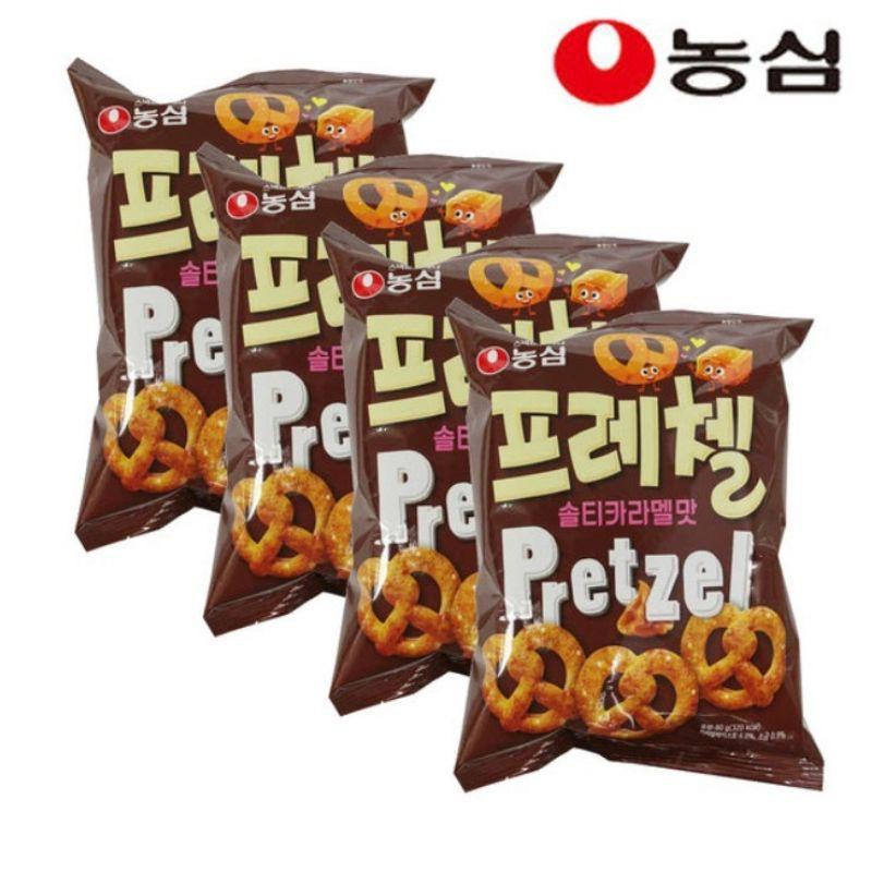 现货Korea Nongshim Salted Caramel Pretzel Snack 80g 韩国焦糖蝴蝶