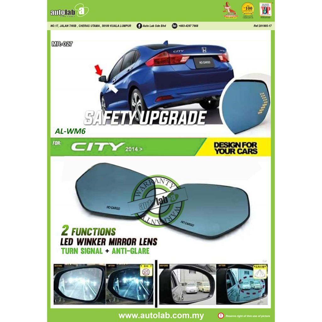 Side Mirror Lens with LED Indicator - Honda City / Jazz 2014-2017