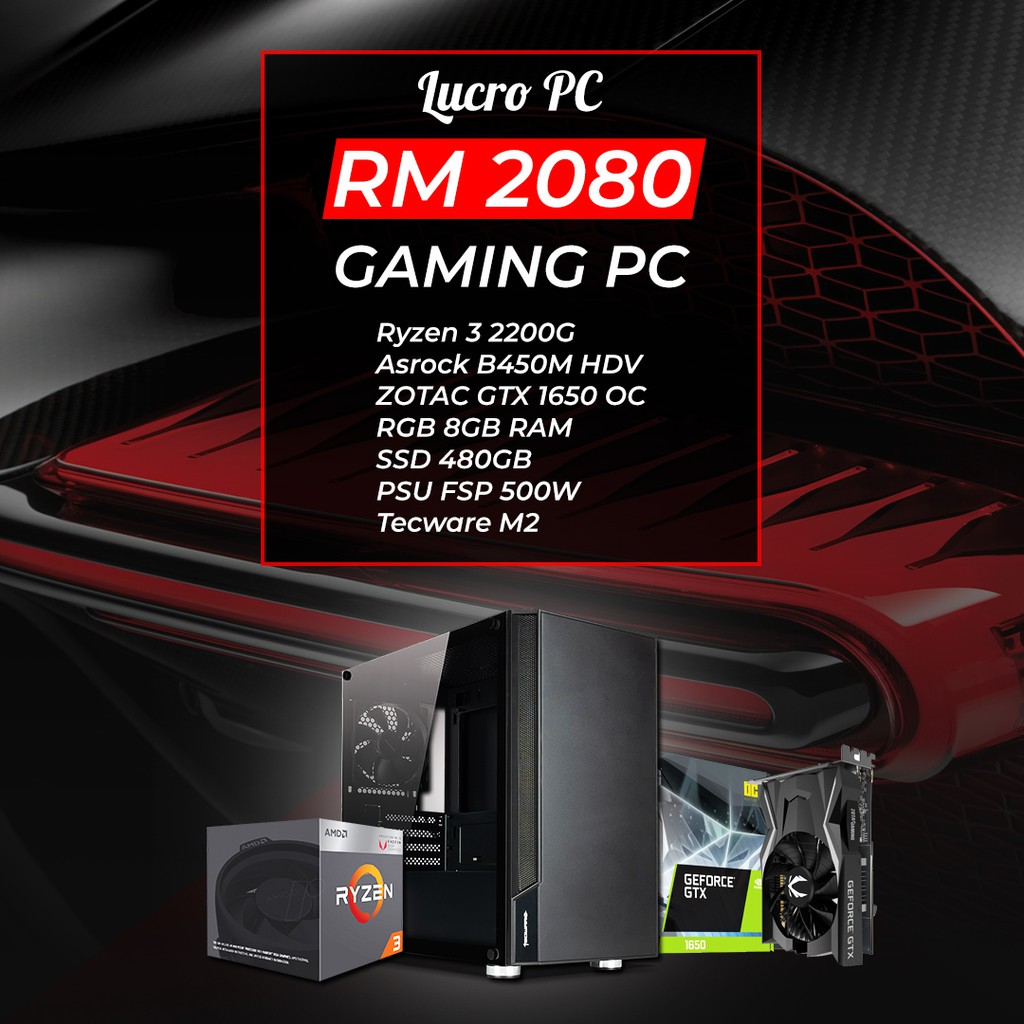 Gaming PC RM2080 (Ryzen 3, GTX 1650 OC, B450M, 8GB RAM, 480GB SSD, 500W FSP  PSU, TECWARE M2 TG)