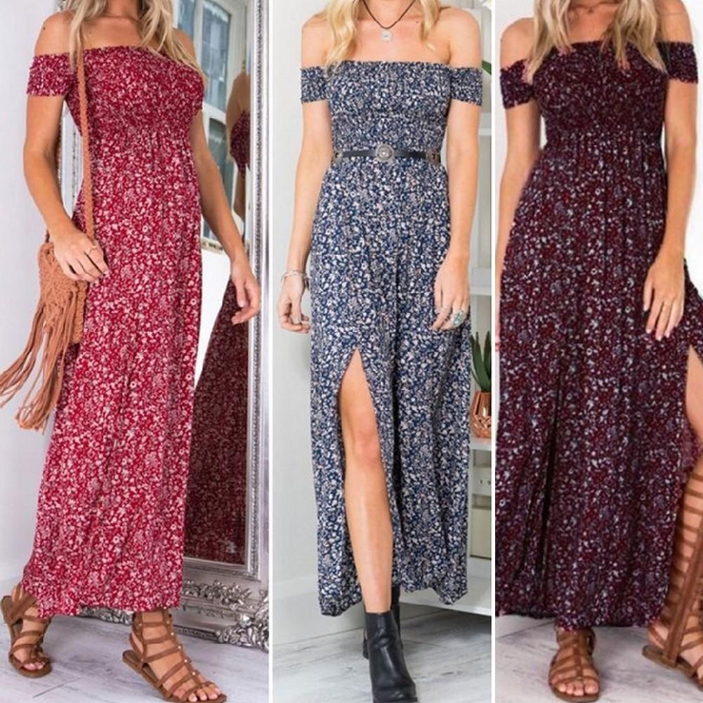 972eb8c4a ProductImage. ProductImage. Women's Casual Off Shoulder Boho Floral Split Long  Maxi Summer Party Beach Dress