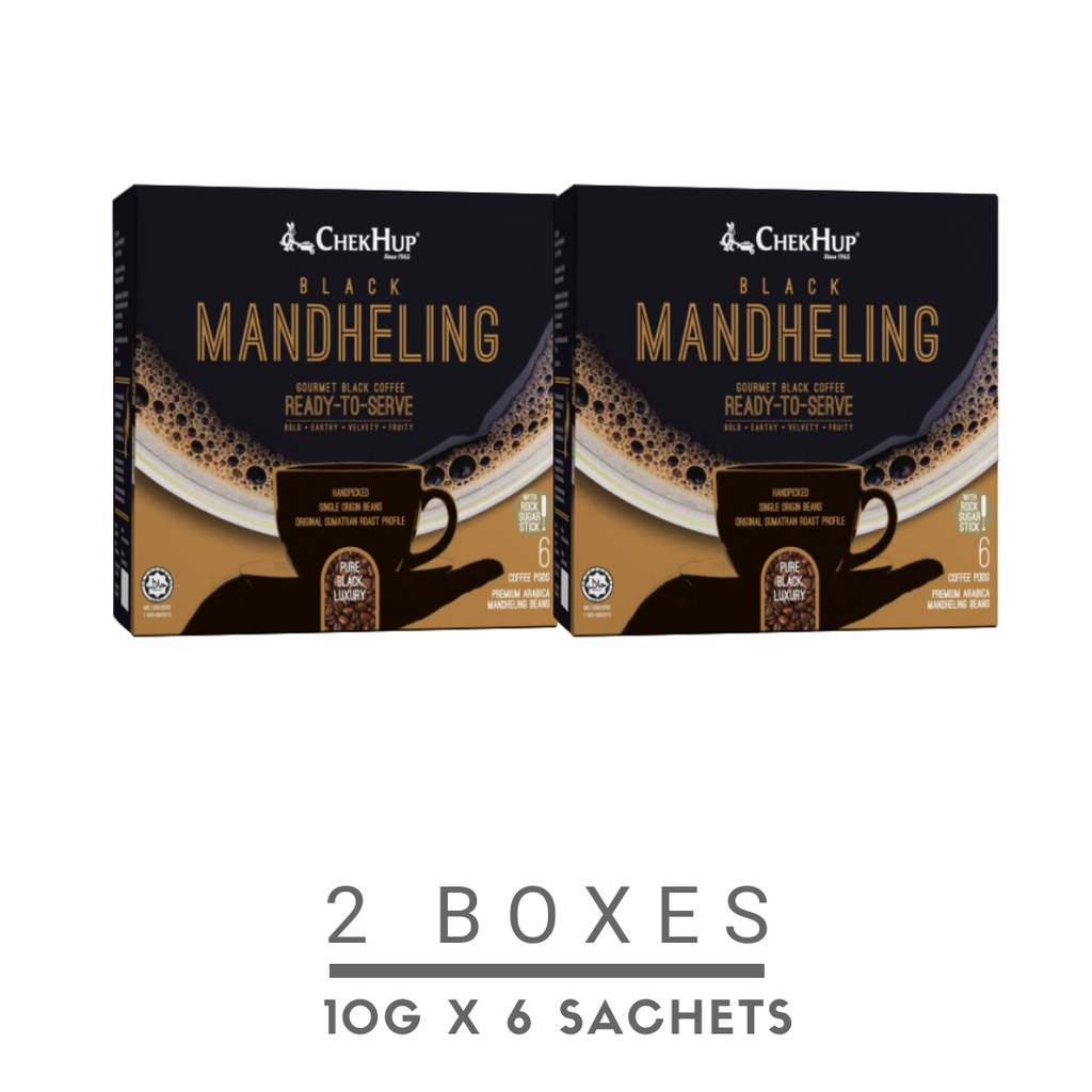 Chek Hup Black Mandheling Gourmet Black Coffee (10g x 6s) [Bundle of 2 Boxes]