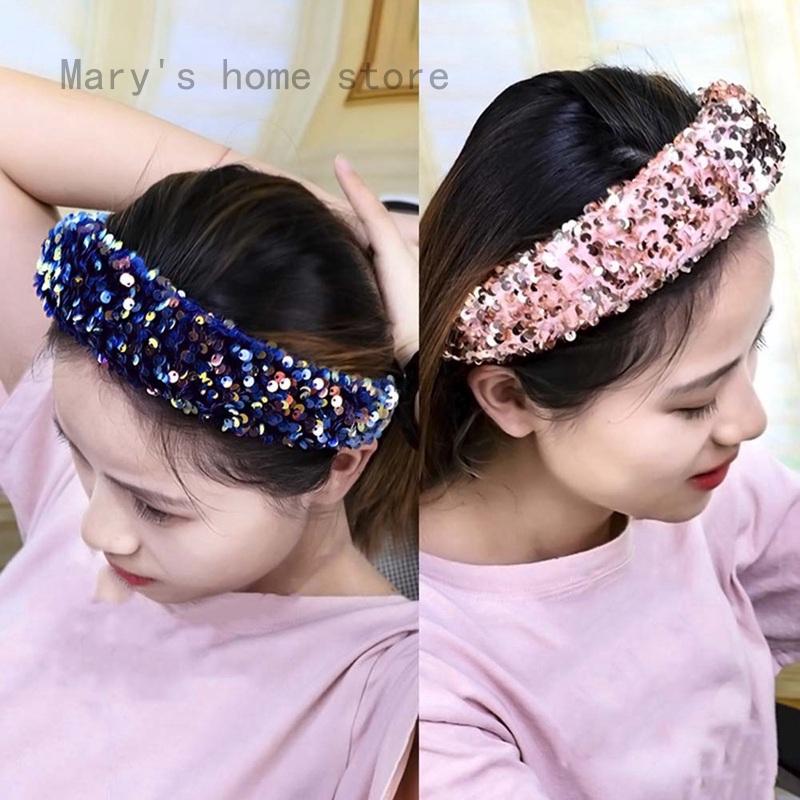 Women/'s Glitter Sequins Padded Headband Hairband Hair Band Hoop Accessories Gift