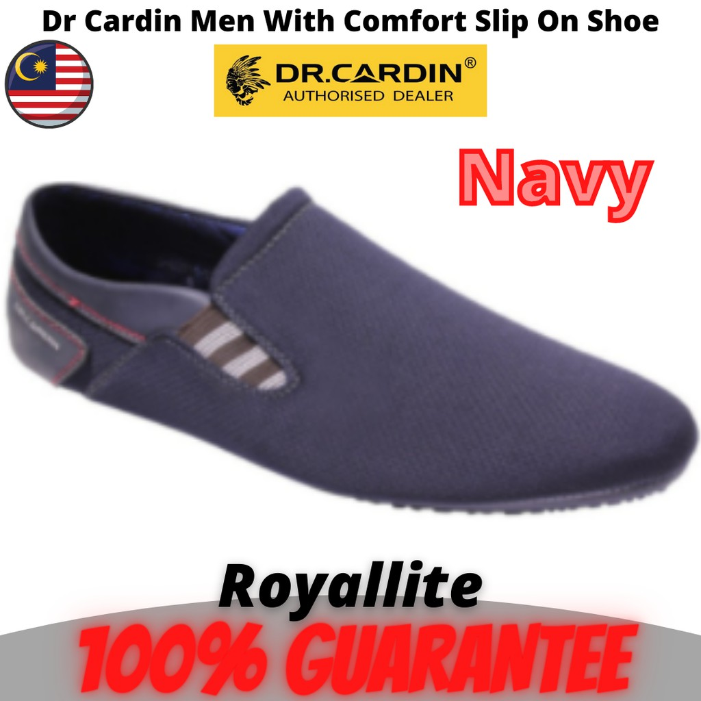 Dr Cardin Men Faux Leather With Comfort Slip On Shoe (60931) Wine & Navy