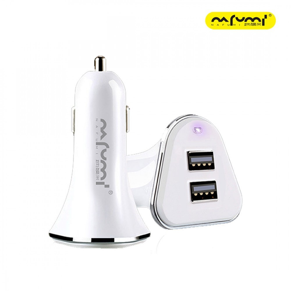 NAFUMI C05 CAR CHARGER DUAL USB 2.4A OUTPUT OVER VOLTAGE PROTECTION FAST CHARGING COMES WITH FREE CABLE LIGHTNING TYPE C